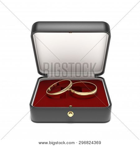 Wedding Rings In A Jewelry Box. 3d Rendering Illustration Isolated On White Background