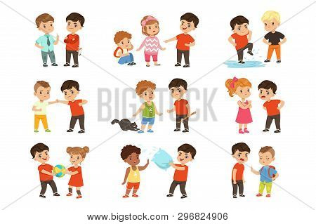 Brave Children Characters Confronting Hooligans Set, Bad Boy Bullying A Smaller Kid Vector Illustrat
