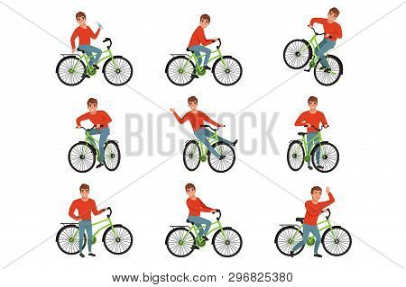 Male Bicyclist Riding On Bike Set, Active Lifestyle Concept Vector Illustrations On A White Backgrou