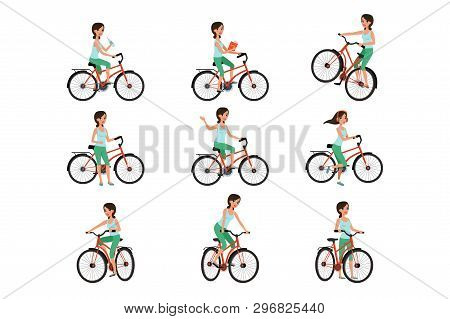 Girl Riding On Bike Set, Active Lifestyle Concept Vector Illustrations On A White Background