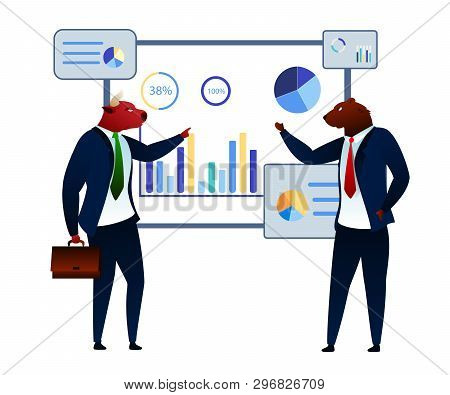 Trader Estate Stock Market Process Conversation. Bearish Investment Trend. Trade Short Finance Attack. Banker Sell Business. Commerce Bank Planning Startup Flat Vector Illustration poster
