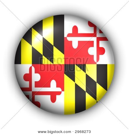Round Button Usa State Flag Of Maryland