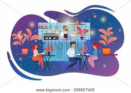 People Visiting Cafe Concept. Male And Female Characters Sitting At Tables And Drinking Beverages On