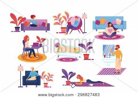 People Every Day Life Routine Set Isolated On White Background. Male, Female Characters Relax, Brush
