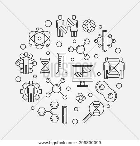 Human Genetic Modification vector minimal round linear illustration poster