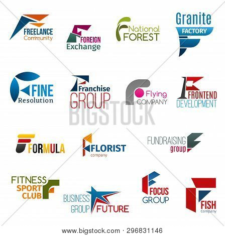 Corporate Identity Letter F Business Icons. Work Or Education, Environment, Production And Marketing