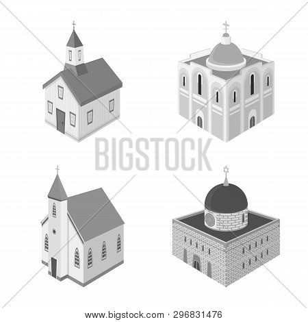 Vector Design Of Landmark And Clergy Icon. Set Of Landmark And Religion Stock Symbol For Web.
