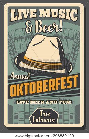 Oktoberfest German Beer Festival Vector Design With Craft Beer Mugs, Bavarian Felt Hat, Wooden Barre