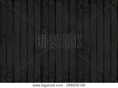 Black Wood Texture Wall Background With Woodgrain Pattern
