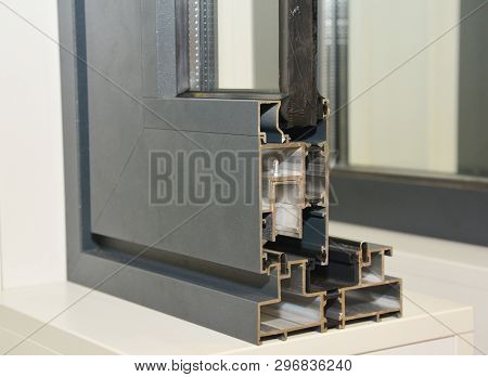 Aluminium Window Frame Profile. Energy Efficient Windows Cross Section. Three Transparent Glass.