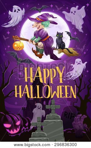 Halloween Witch Flying On Broom Vector Design Of Sorceress With Broomstick, Black Cat And Pumpkin La