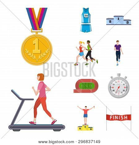 Vector Illustration Of Step And Sprint Sign. Collection Of Step And Sprinter  Vector Icon For Stock.