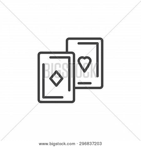 Playing Cards Line Icon. Linear Style Sign For Mobile Concept And Web Design. Aces Cards Outline Vec
