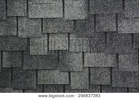 Asphalt Shingles Photo. Close Up View On Asphalt Roofing Shingles Background. Roof Shingles - Roofin