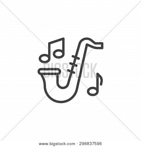 Saxophone And Music Notes Line Icon. Linear Style Sign For Mobile Concept And Web Design. Sax And Mu