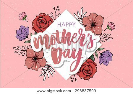 Happy Mothers Day Elegant Typography Pink Banner. Calligraphy Text And Heart In Frame On Red Backgro