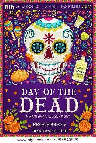 Dia De Los Muertos Mexican Holiday Greetings And Day Of Dead Celebration Symbols. Vector Dia De Los