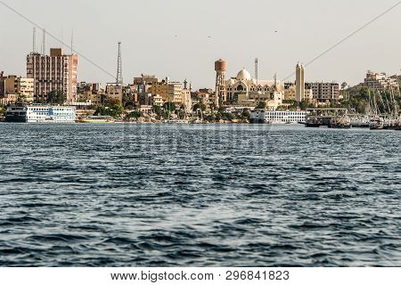 20.05.18 Aswan City Egypt Panorama View From A Boat On The West Coast Of The Nile On A Sunny Day