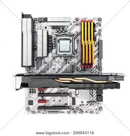 Motherboard Complete With Ram And Video Card Isolated On White Background 3d Render