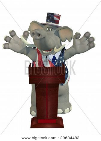 poster of Political Debate - Smiling Republican Elephant arms raised behind a podium while giving a passionate speech.