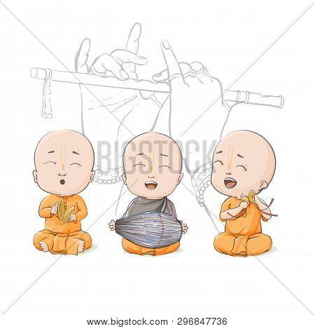 Vector Cartoon Vaisnava Devotees
