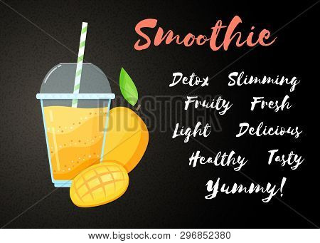 Orange Mango Smoothie Cocktail Flat Vector Illustration. Tasty Natural Fruit, Cup, Straw And Glass W