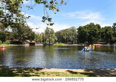 ORANGE, CALIFORNIA - APRIL 18, 2019: Lake at Irvine Park in Orange, California, a 160-acre park became the countys first regional park in 1897.