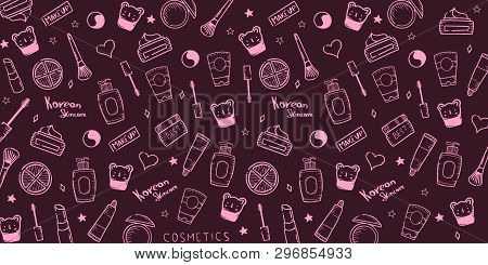 Korean Cosmetics. K-beauty Banner With Hand Draw Doodle Background. Skincare And Makeup. Vector Illu