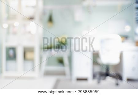 Blur Desk At Workplace Home Office Background With Bokeh Light.work At Home Lifestyle Backdrop.