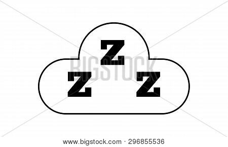Sleep Icon. Three Z In Cloud. Snooze Symbol For Your Design. Vector Illustration.