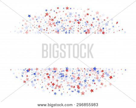 American Patriot Day Stars Background. Confetti In Us Flag Colors For Independence Day. Banner Red B