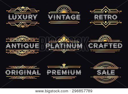 Art Deco Label. Retro Luxury Geometric Ornaments, Vintage Ornament Frame And Hipster Decorative Line