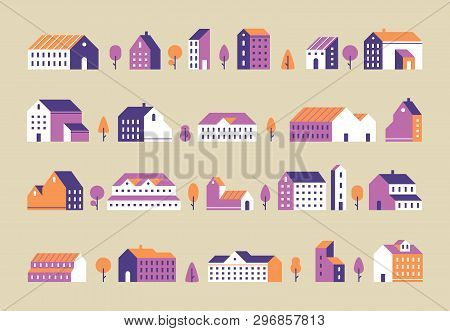 Minimalism Town Buildings. Geometric Minimal Residential Houses, City Building And Urban House Flat