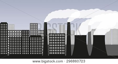 City And Industry With Air Pollution Industry Smog And Noxious Gas Emission Vector Illustration Eps1