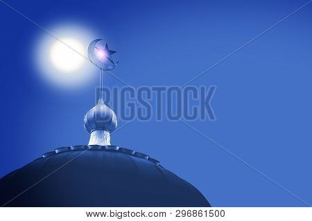 Crescent And Star, The Symbol Of Islam On Dome Of The Mosque With Blue Sky