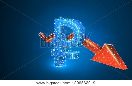 Russian Ruble Currency, Downtrend Red Arrow, Digital, Blue, Neon 3d Illustration. Polygonal Vector B