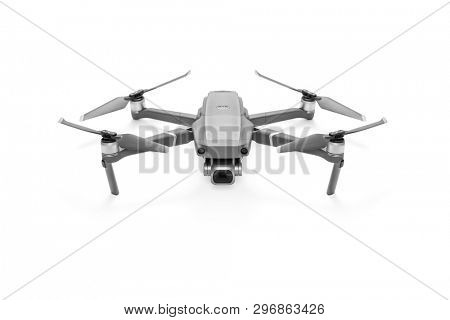 Quadcopter camera drone on white background, including clipping path