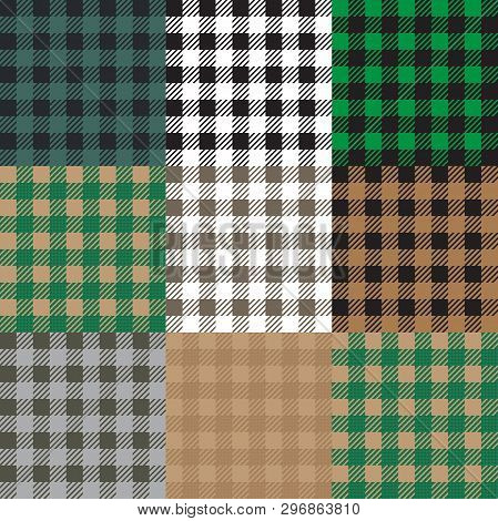 Set Of 9 Gingham , Vichy Patterns For Picnic Blanket Or Tablecloth Design