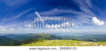 Mountain Ranges Of The Eastern Carpathians, Wide Panoramic View To The West And North From Mount Top