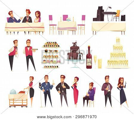 Banquet Set Of Cartoon Icons Service Staff And Guests Food Music Equipment Interior Elements Isolate
