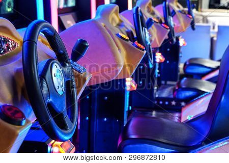 Minsk Belarus - April 20 2019 : Car Driving Machines At Arcade Games In The Entertainment Zone In Sh