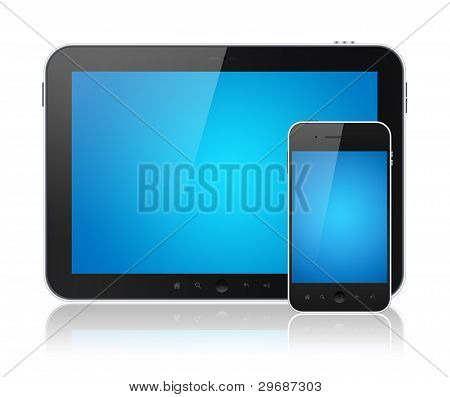 Digital-Tablet-PC mit Mobile Smartphone isoliert