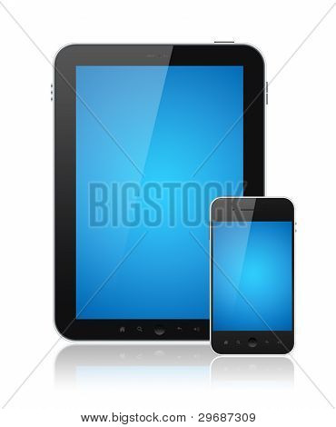 Modern digital tablet PC with mobile smartphone isolated on white. Include clipping path for tablet and phone. poster