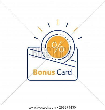Loyalty Card, Incentive Gift, Collecting Bonus, Earn Reward, Shopping Perks, Discount Coupon, Vector