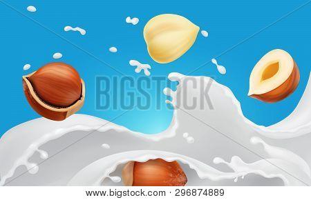 Milk Splash And Hazelnuts. Vegan Alternative Organic Filbert Milk Flow Pour . Non Dairy Drink Or Yog