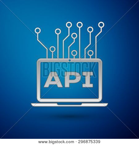 Silver Computer Api Interface Icon Isolated On Blue Background. Application Programming Interface Ap