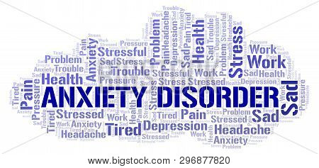 Anxiety Disorder Word Cloud. Wordcloud Made With Text Only.