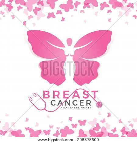 Breast Cancer Awareness Month With Pink Women Butterfly Sign And Abstract Butterfly Frame Background