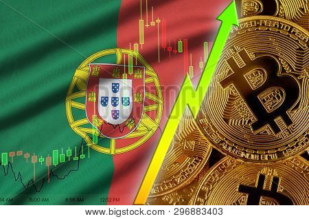 Portugal flag and cryptocurrency growing trend with many golden bitcoins poster