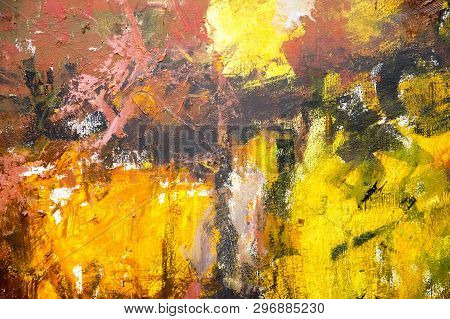 Hand Drawn Acrylic Painting. Abstract Art Background. Acrylic Painting On Canvas. Color Texture. Fra